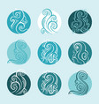 ocean waves set elegant hand drawn pattern vector image