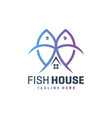 outline fish and house logo vector image