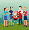 people together with thighs food in the grill vector image