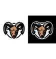 ram head logo on a light and dark background vector image vector image