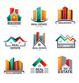 real estate logo buildings luxury houses home vector image vector image