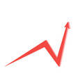red arrow on white background tends upwards vector image vector image