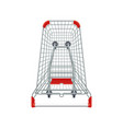 red supermarket shopping cart 3d top view vector image vector image