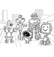 robots group cartoon coloring page vector image vector image
