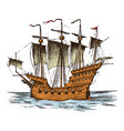 sailboat in the sea summer adventure active vector image vector image