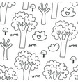 seamless pattern with trees bushes mushrooms vector image vector image
