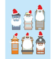 Set of buildings with beard and mustache Santa vector image
