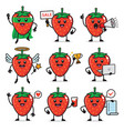 set strawberry character design vector image