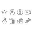 shopping bags graduation cap and recruitment vector image
