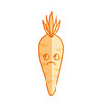 silhouette kawaii cute thinking carrot vegetable vector image vector image