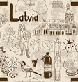 Sketch Latvia seamless pattern vector image vector image
