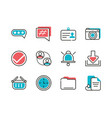 social media icons set line and fill vector image vector image