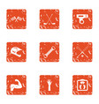 sport race icons set grunge style vector image vector image