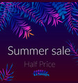 summer sale poster night tropic background with vector image vector image