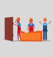 team of builders is working vector image