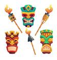tiki masks hawaiian tribal totem and torches vector image