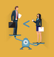 unequal position of businesspeople on scales vector image vector image