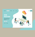 web hosting landing business page computer vector image
