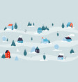 winter snowy landscape christmas house minimal vector image