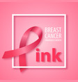 word pink with pink ribbon instead letter p vector image