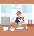 working man with child home room interior vector image