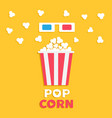 3d paper red blue glasses and big popping popcorn vector image vector image