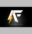 af letter logo design with lighting thunder bolt vector image vector image