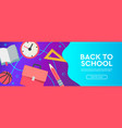back to school sale banner horizontal poster flat vector image