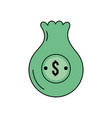 bag with dollar symbol to save cash money vector image vector image