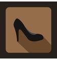 Black high heel shoe icon flat style vector image vector image