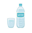 bottle water natural and glass vector image vector image
