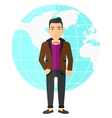 Businessman standing on globe background vector image vector image