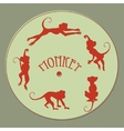 card of monkeys with printing effect vector image vector image