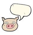 Cartoon pig face with speech bubble