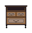 chest of drawers retro furniture piece flat vector image vector image