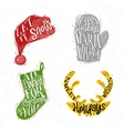 Christmas silhouettes hat color vector image vector image