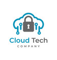 cloud tech logo design template vector image vector image
