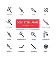 cold steel arms - flat design style icons set vector image