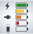 color battery icon charge from high to low plug vector image vector image