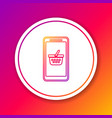 color mobile phone and shopping basket line icon vector image vector image