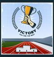 colorful vintage sport trophy poster vector image vector image