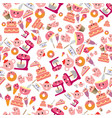 cute sweet pink bakery items seamless pattern vector image vector image