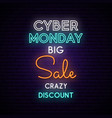 cyber monday neon sign board on brick wall light vector image vector image