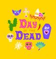 day dead handwritten postcard vector image vector image