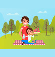 family near green trees dad and son on mat vector image vector image