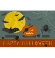 happy halloween banner flat with icons pumpkin bat vector image