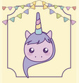 head cute little unicorn bawith garlands vector image vector image