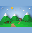 house on the hill with nature landscape paper vector image vector image