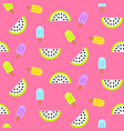 ice cream popsicles and watermelon slices seamless vector image vector image