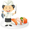 Japanese chef cooking sushi vector image vector image